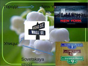 Города: New York Abakan Улицы: Sovetskaya street