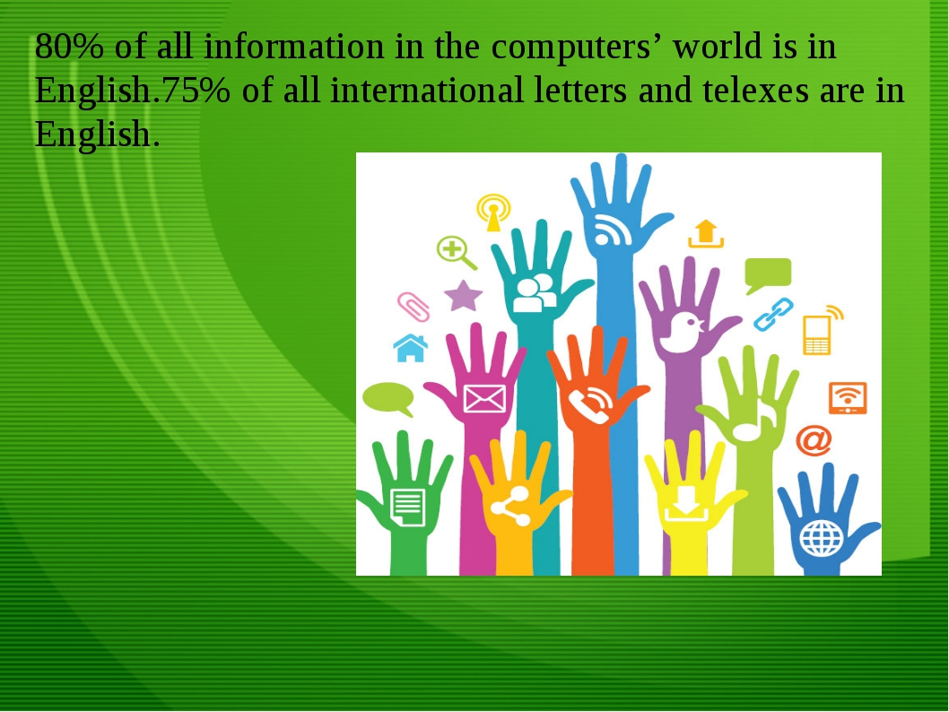 80% of all information in the computers' world is in English.75% of all inter...