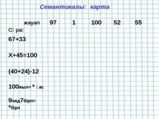 Семантикалық карта жауап Сұрақ9711005255 67+33 Х+45=100 (40+24