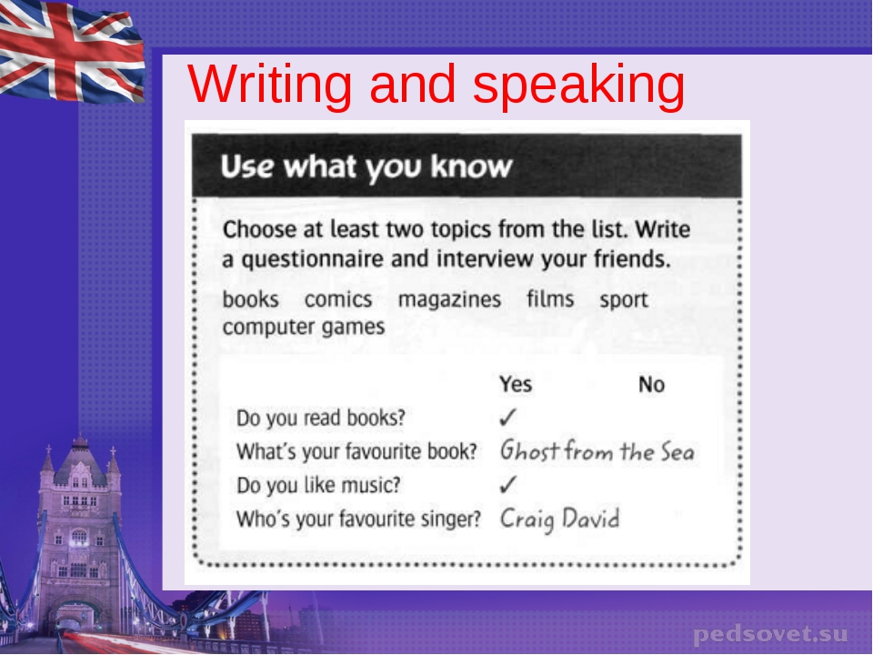 Writing and speaking