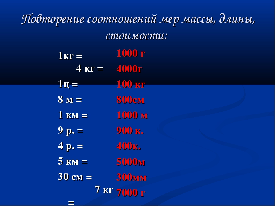 Повторение соотношений мер массы, длины, стоимости: 1кг =  4 кг = 1ц = 8 м =...