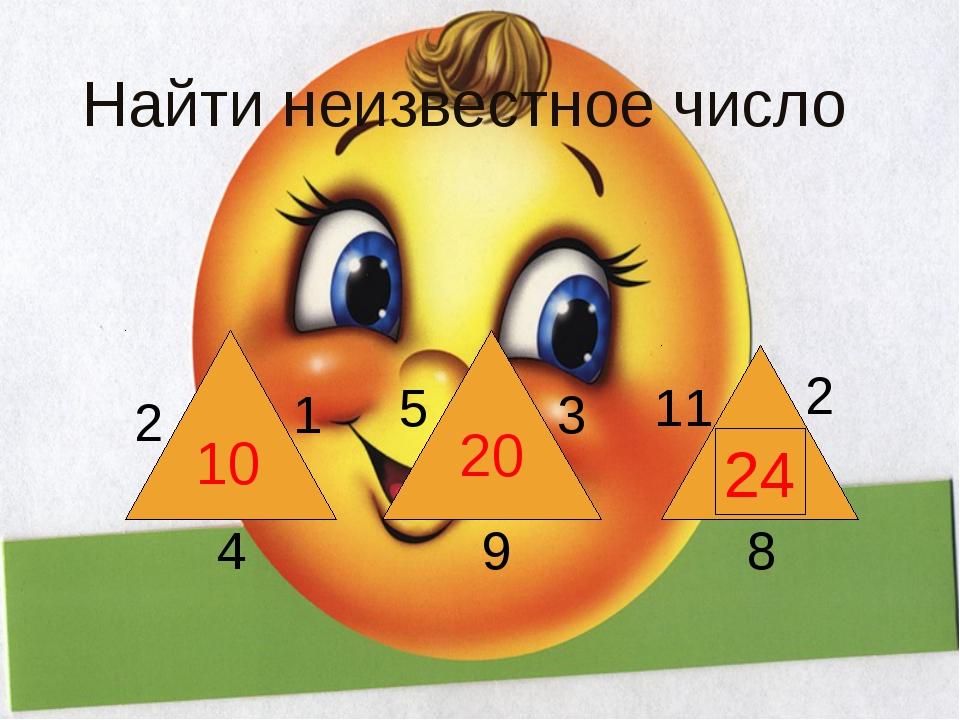 Найти неизвестное число 10 20 ? 2 1 4 5 3 9 11 2 8 24 К сумме чисел, записанн...