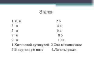 Эталон 1 б, в 2 б 3 в 4 в 5 а 6 в 7 б 8 б 9 в 10 в 1.Хитиновой кутикулой 2.Он