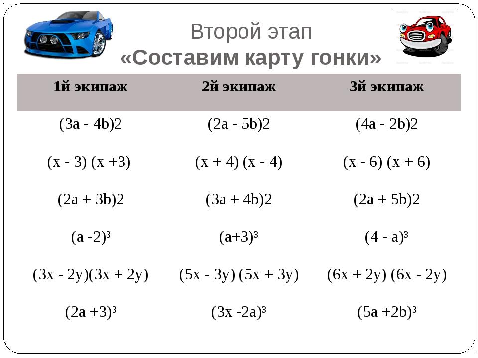 Второй этап «Составим карту гонки» 1йэкипаж 2йэкипаж 3йэкипаж (3а - 4b)2 (2а...