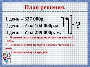 1 день – 327 000р. 2 день – ? на 104 000р.м. 3 день – ? на 289 000р. м. Наход