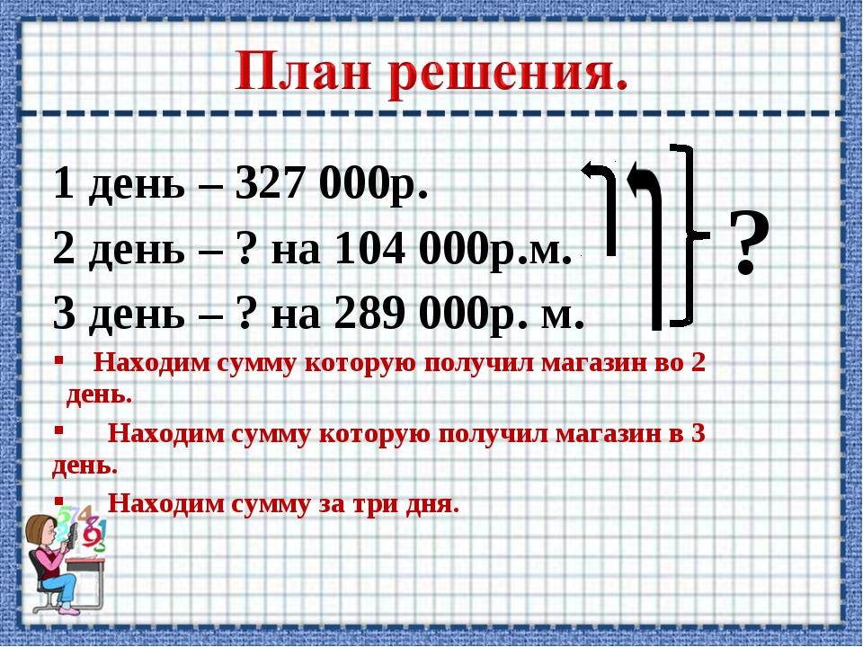 1 день – 327 000р. 2 день – ? на 104 000р.м. 3 день – ? на 289 000р. м. Наход...