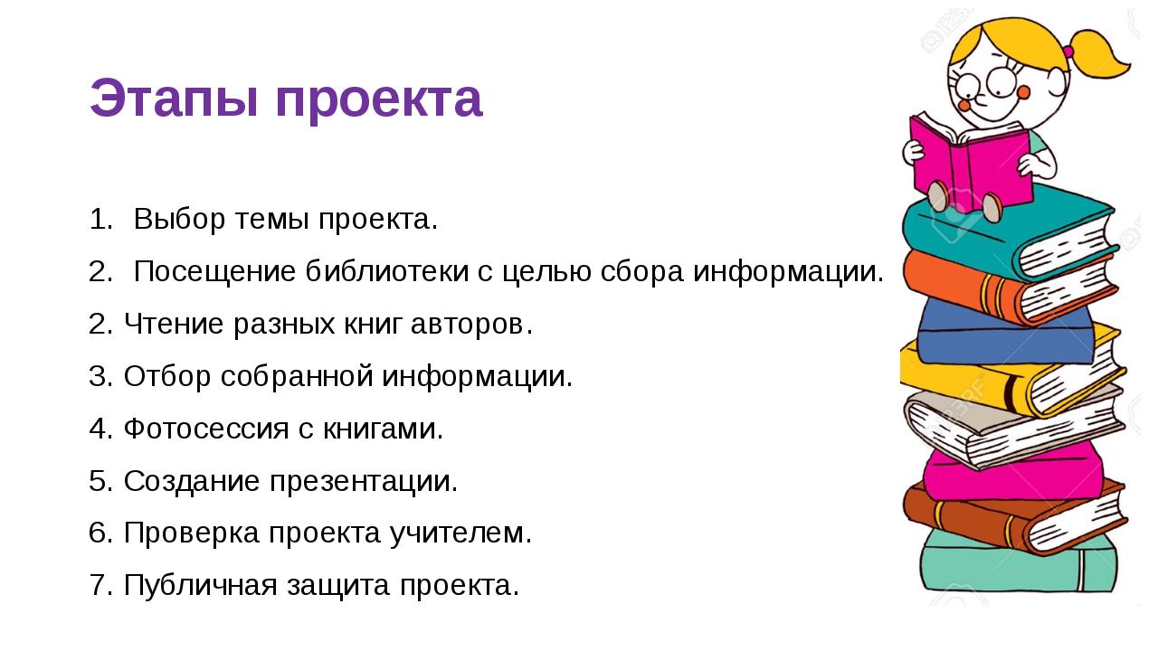 Этапы проекта Выбор темы проекта. Посещение библиотеки с целью сбора информац...