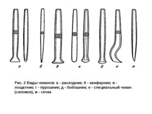 Рис. 2 Виды чеканов: а - расходник; б - канфарник; в - лощатник; г - пурошник