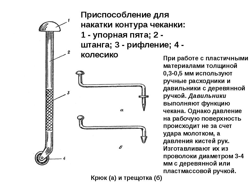 Приспособление для накатки контура чеканки: 1 - упорная пята; 2 - штанга; 3 -...