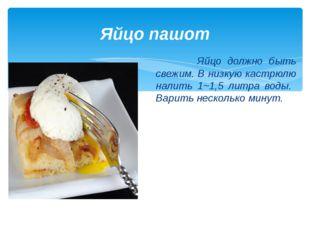 Яйцо пашот Яйцо должно быть свежим. В низкую кастрюлю налить 1~1,5 литра воды