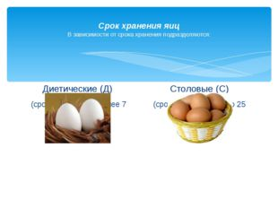Срок хранения яиц В зависимости от срока хранения подразделяются: Диетически