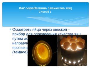 Осмотреть яйца через овоскоп – прибор для определения качества яиц путем их п