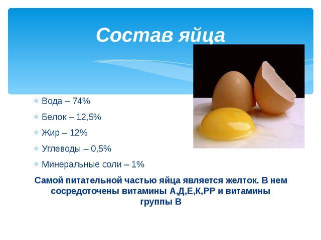 Вода – 74% Белок – 12,5% Жир – 12% Углеводы – 0,5% Минеральные соли – 1% Само...