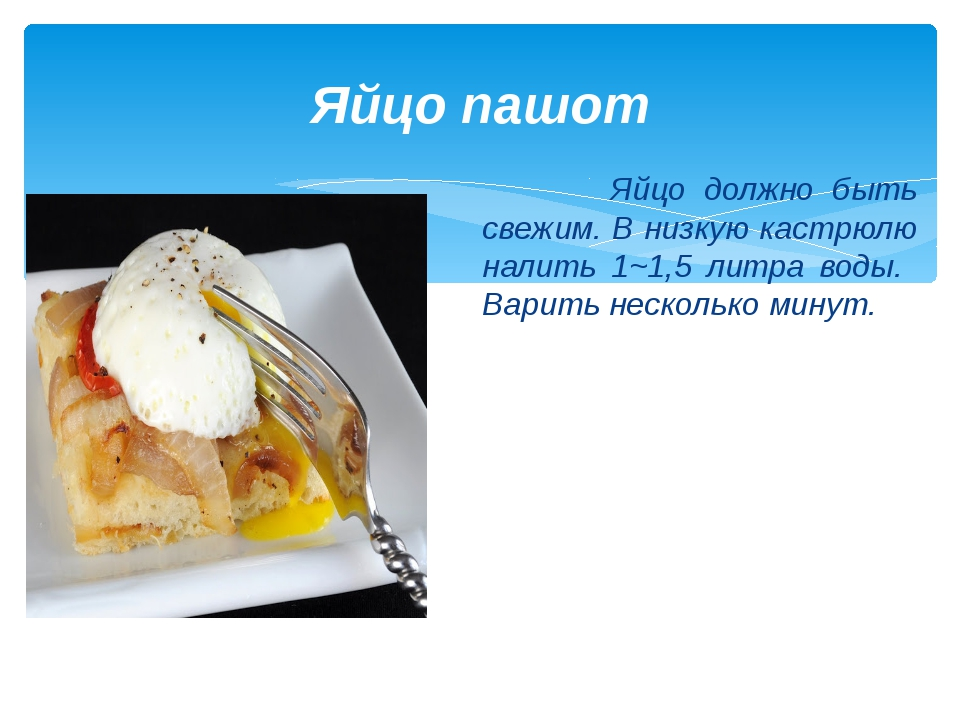 Яйцо пашот Яйцо должно быть свежим. В низкую кастрюлю налить 1~1,5 литра воды...