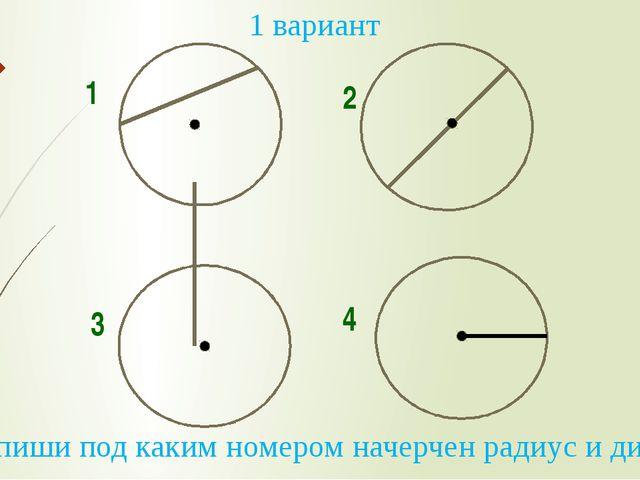1 2 3 4 1 вариант 2. Напиши под каким номером начерчен радиус и диаметр