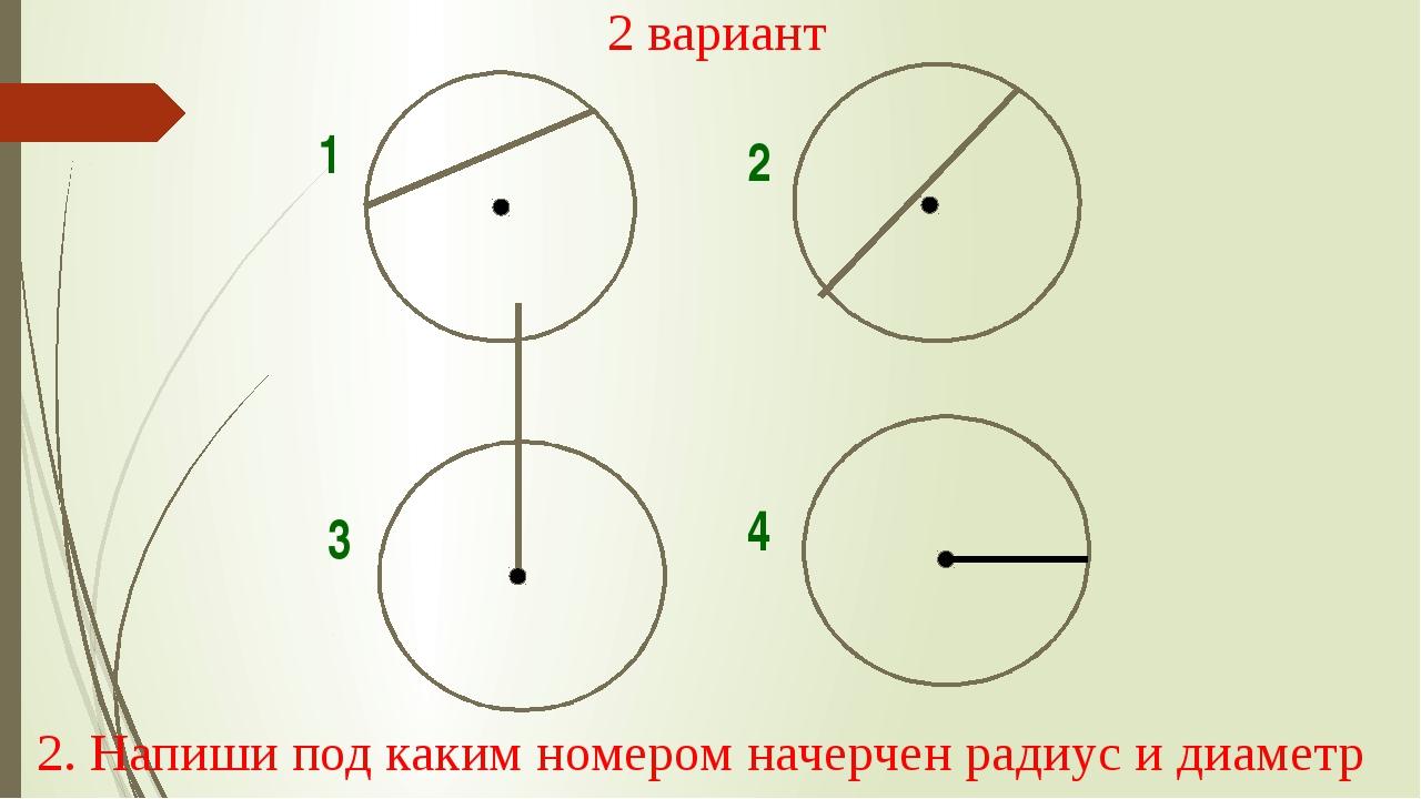 1 2 3 4 2 вариант 2. Напиши под каким номером начерчен радиус и диаметр