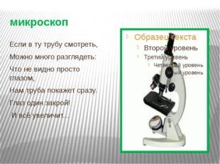 микроскоп Если в ту трубу смотреть, Можно много разглядеть: Что не видно прос