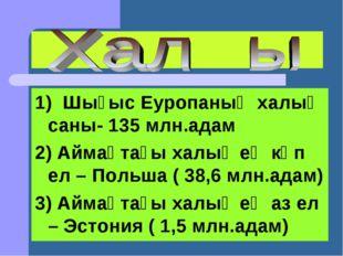 1) Шығыс Еуропаның халық саны- 135 млн.адам 2) Аймақтағы халық ең көп ел – По