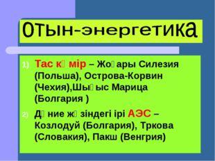 Тас көмір – Жоғары Силезия (Польша), Острова-Корвин (Чехия),Шығыс Марица (Бол