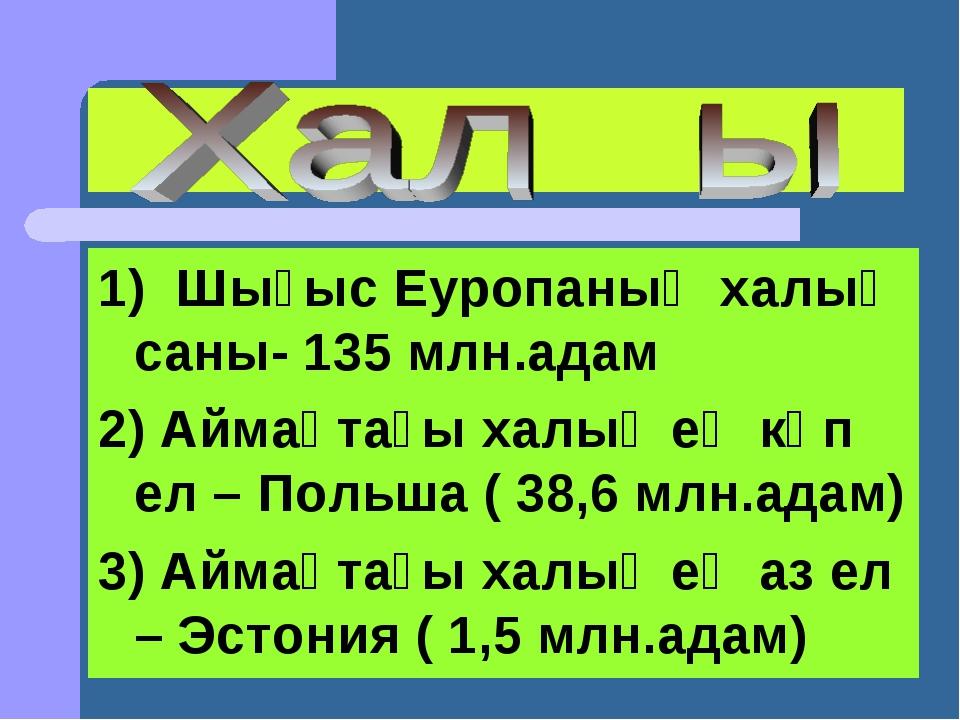 1) Шығыс Еуропаның халық саны- 135 млн.адам 2) Аймақтағы халық ең көп ел – По...