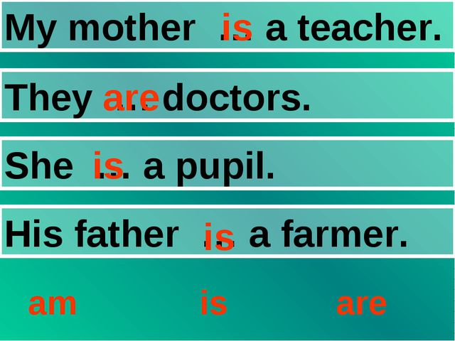 My mother … a teacher. They … doctors. She … a pupil. His father … a farmer....