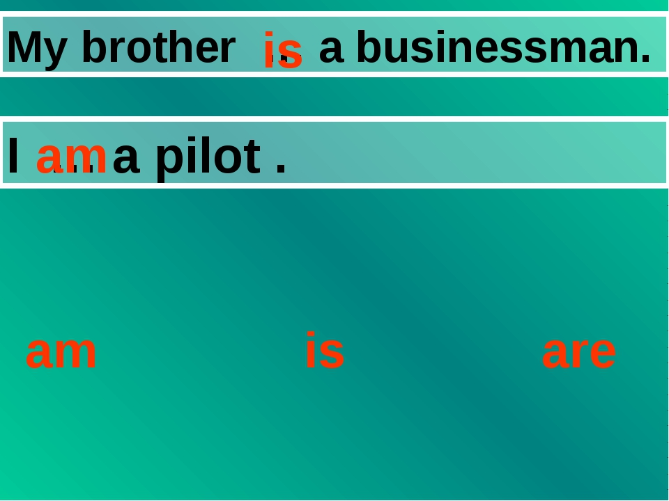 My brother … a businessman. I … a pilot . am is are is am