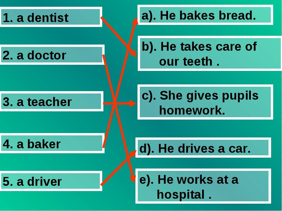 1. a dentist 2. a doctor 3. a teacher 4. a baker 5. a driver a). He bakes bre...
