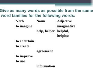 Give as many words as possible from the same word families for the following