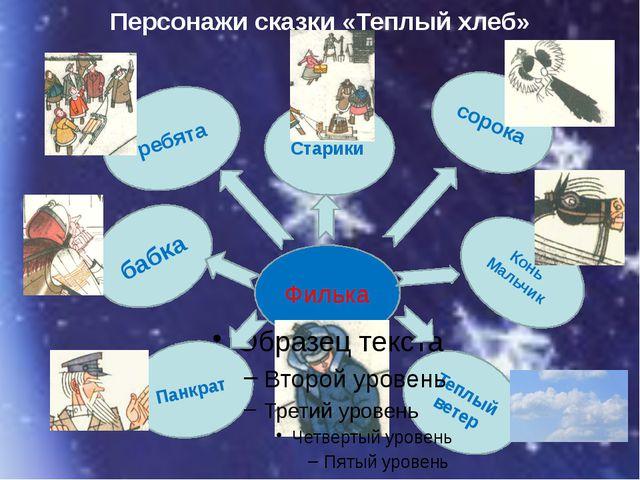 Персонажи сказки «Теплый хлеб» сорока Конь Мальчик Теплый ветер Старики ребят...