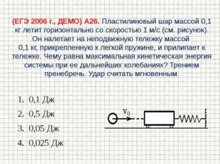 (ЕГЭ 2006 г., ДЕМО) А26. Пластилиновый шар массой 0,1 кг летит горизонтально