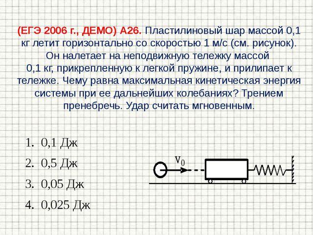 (ЕГЭ 2006 г., ДЕМО) А26. Пластилиновый шар массой 0,1 кг летит горизонтально...