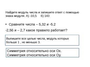 Найдите модуль числа и запишите ответ с помощью знака модуля. А) -10,5 б) 143