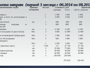Смета затрат (период 3 месяца с 06.2014 по 08.2014). №Наименование затрат