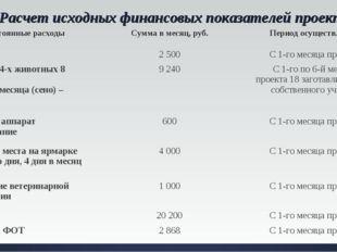 Расчет исходных финансовых показателей проекта. Постоянные расходы Сумма в м