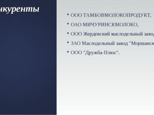 Конкуренты ООО ТАМБОВМОЛОКОПРОДУКТ, ОАО МИЧУРИНСКМОЛОКО, ООО Жердевский масло