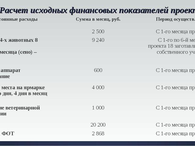 Расчет исходных финансовых показателей проекта. Постоянные расходы Сумма в м...
