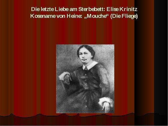 """Die letzte Liebe am Sterbebett: Elise Krinitz Kosename von Heine: """"Mouche"""" (D..."""