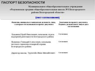ПАСПОРТ БЕЗОПАСНОСТИ Муниципальное общеобразовательное учреждение «Разуменска