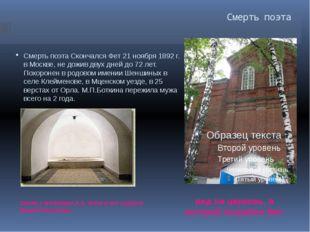 Смерть поэта Склеп с могилами А.А. Фета и его супруги Марии Петровны. вид на