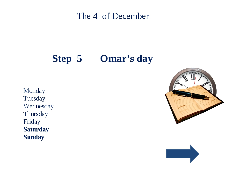 The 4th of December Step 5 Omar's day Monday Tuesday Wednesday Thursday Frida...