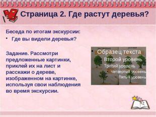 Страница 2. Где растут деревья? Беседа по итогам экскурсии: Где вы видели де