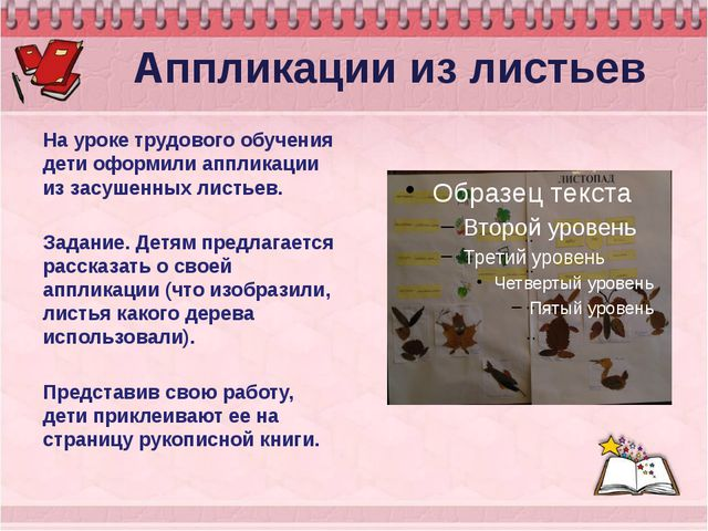 Аппликации из листьев На уроке трудового обучения дети оформили аппликации и...