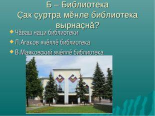 Б – Библиотека Çак çуртра мĕнле библиотека вырнаçнă? Чăваш наци библиотеки Л.
