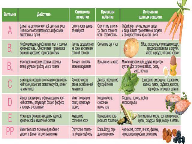 организм на человека витаминов таблица действие