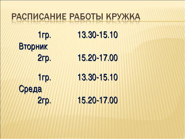 1гр. Вторник 2гр.13.30-15.10 15.20-17.00 1гр. Среда 2гр.13.30-15.10 15.20-...