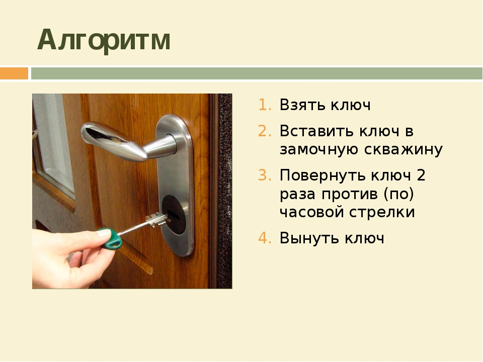 Алгоритм Взять ключ Вставить ключ в замочную скважину Повернуть ключ 2 раза п...