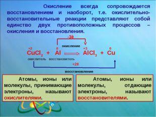 CuCl2 + Al AlCl3 + Cu окислитель восстановитель +2 0 +3 0 окисление восстано