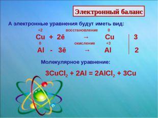 Электронный баланс А электронные уравнения будут иметь вид: +2 восстановление