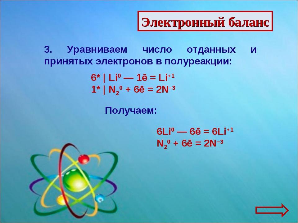 Электронный баланс 3. Уравниваем число отданных и принятых электронов в полур...