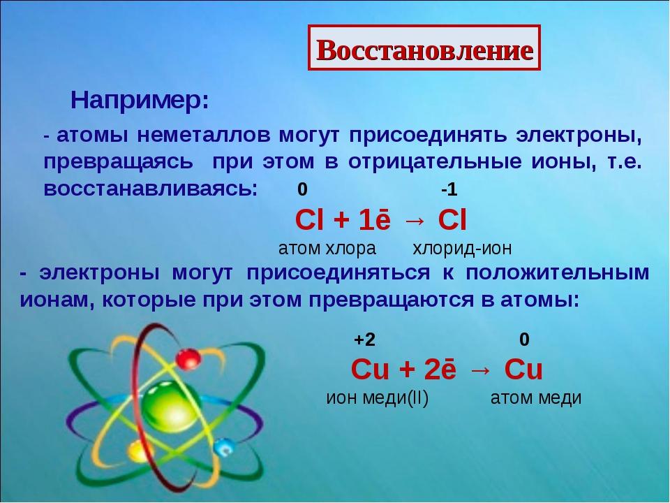 Восстановление Например: - атомы неметаллов могут присоединять электроны, пре...